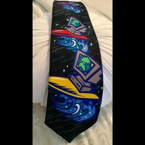 🎸Ralph Marlin surf the net tie blue red signed